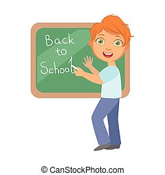 Elementary school student writing text Back to School on the blackboard, a colorful character isolated on a white background