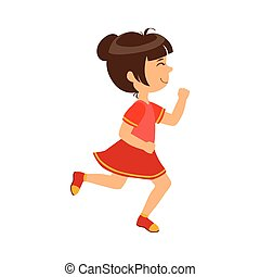 Happy little girl running , kid in a motion, a colorful character
