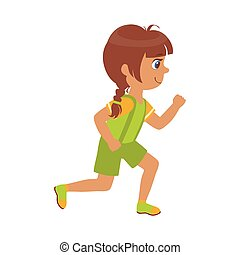 Little girl running in a green shirt and shorts, kid in a motion, a colorful character