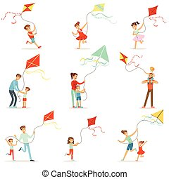 Happy kids running with kite. Parents help children run a...
