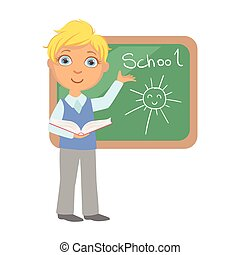 Schoolboy standing near the blackboard and writing, a colorful character isolated on a white background