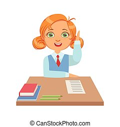 Cute schoolgirl sitting at the desk and raising her hand to answer, a colorful character