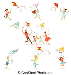 Kids and their parents running with kite happy and smiling....