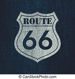 Route 66 - Vintage roadsign illustration - Denim Route 66 -...