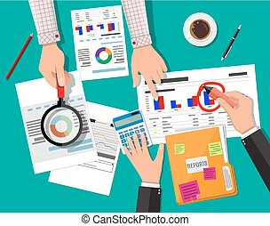 Financial report concept. Business background - Hand with...