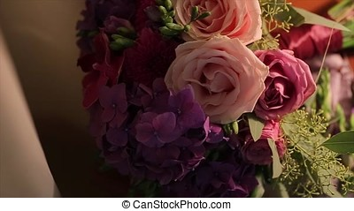 Wedding bouquet of roses. Bride's bouquet on wedding day....