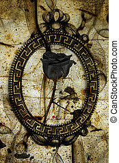 emo rose - a black rose in a frame on an emo background with...