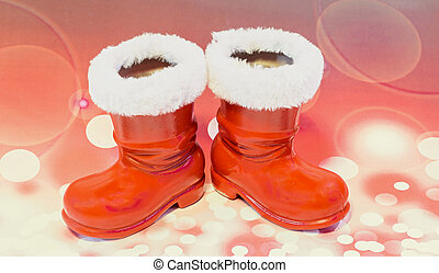 Claus, Santo, luces, zapatos, botas, botas, Plano de fondo,...