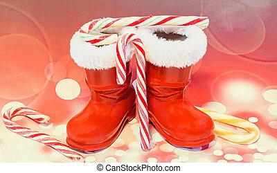 chupetes, santa, luces, zapatos, golosinas, Claus, botas,...