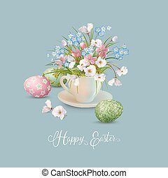 Happy Easter Card. Vector cup full of spring flowers and...