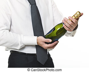 businessman with champagne bottle