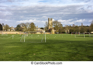 playground and Chapel tower of Merton College. Oxford...