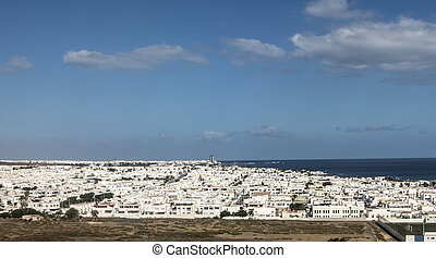 aerial of Arrecife, the capital of the spain island of...