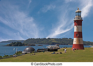 Plymouth Hoe in Devon, England, where Francis Drake played...