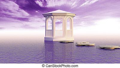 Alone in sea - White gazebo remote in sea and under violet...