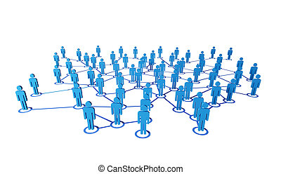 3d people and connection - 3d blue people on virtual web...