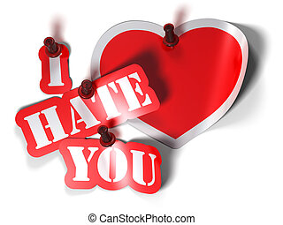 I hate you and heart sticker over a white background with a  pushpin