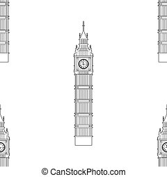Big Ben vector contur. England or London icon seamless...