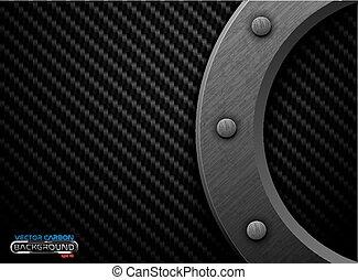Vector black carbon fiber background with dark grunge metal ring and rivet. Scratched riveted surface heavy industrial design illustration.