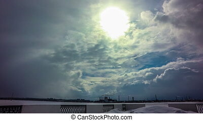 4k Taym laps daytime sky with fluffy clouds - daytime sky...