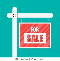 For sale wooden placard. Real estate sign. Buy or rent...