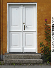 Front door with a rosebush in the historic old town of...