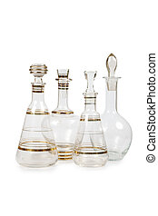 Set of vintage decanters isolated on white background