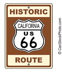 California Historic Route US 66 Sign Illustration
