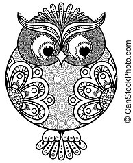 Big stylized ornate rounded owl, black vector contour...