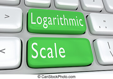 Logarithmic Scale concept - 3D illustration of computer...