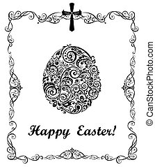 Easter greeting card with decorative floral egg (black and...
