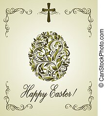Easter greeting card with vintage floral olive egg shape