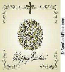 Easter greeting card with vintage floral olive egg shape