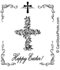 Easter greeting with vintage floral cross (black and white)