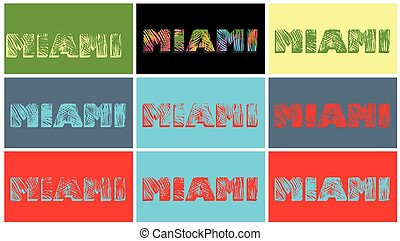 Prints with Miami lettering with palm leaves