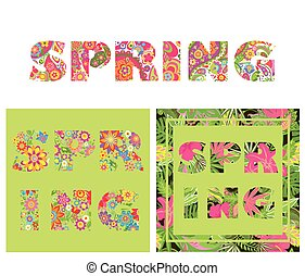 T-shirt floral prints with spring lettering