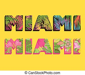 T-shirt prints with Miami lettering with palm leaves and exotic flowers