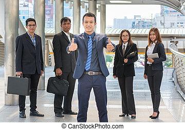 地位, 都市, ビジネス, 現代, 確信した, アジア人, チーム, 微笑