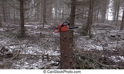 Chainsaw on the stump in the forest in winter