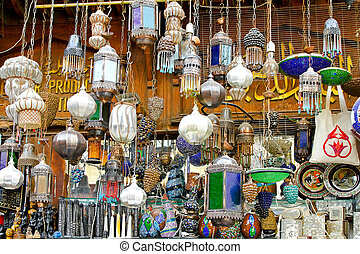 Chandeliers - Bunch of colorful chandeliers sold on street...