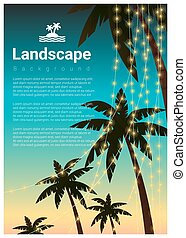 Landscape background with palm trees at tropical beach party 2