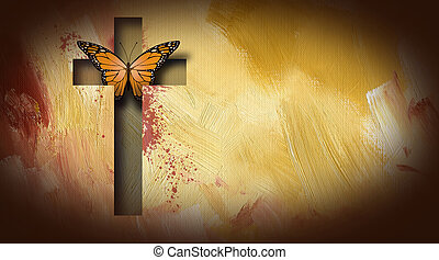 Cross of Jesus setting butterfly free - Graphic composition...