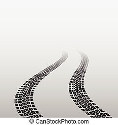Wave tire track - Gradient background with black wave tire...