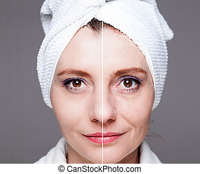 happy woman after beauty treatment - before/after shots -...