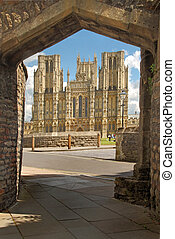 Wells Cathedral - The West front of Wells Cathedral in...