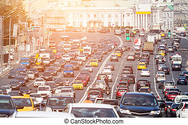 Congested with cars multilane road - Lanes of a wide city...
