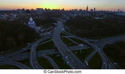 Megalopolis skyline. Aerial shot over Kiev, Ukraine after...