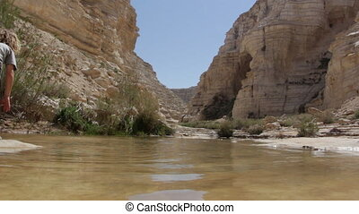 Oasis with water stream in Ein Uvdat - Shot of Oasis with...