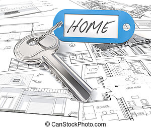 House Project Key. - Modern Steel Key and blue plastic Tag...