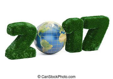 Earth Day 2017 concept, 3D rendering isolated on white...